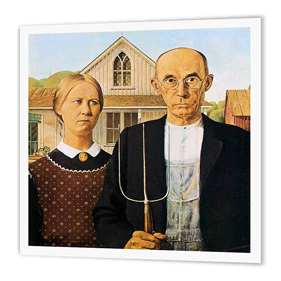 3dRose ht_130186_1 American Gothic by Grant Wood Iron on Heat Transfer Paper for White Material, 8 by 8