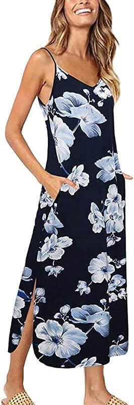 Shisay Women S Summer Sling Flower Print Backless V Neck Sundress Casual Beach Long Split Maxi Dress