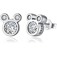 BAMOER Mouse Sterling Silver Birthstone Stud Earrings