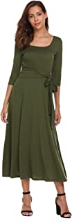 Womens Elegant Scoop Neck 3/4 Sleeve Pleated A-Line Swing Party Midi Long Dress with Waist Tie