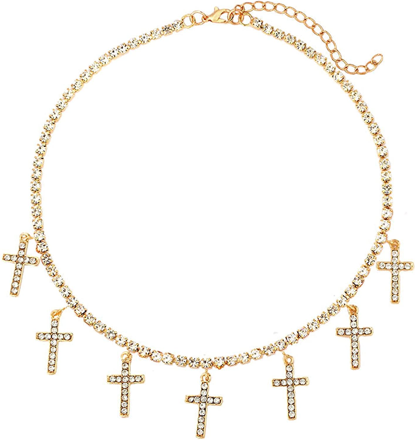 Bling Crystal Cross Pendant Necklace Collar Statement Rhinestone Chain Choker Necklace For Women Jewelry