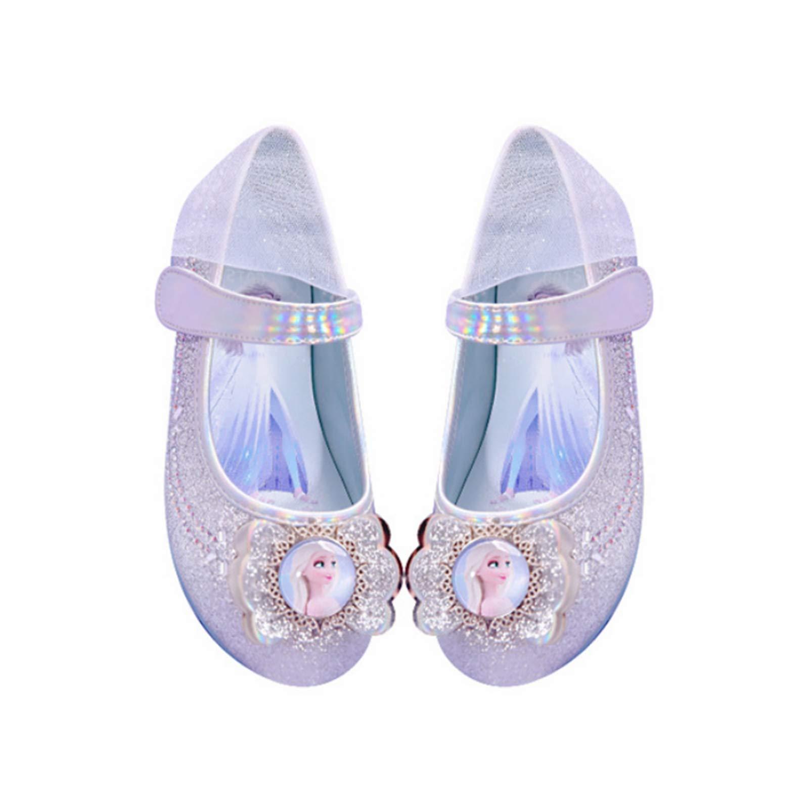 Ramonala Fille Talons Plats Chaussures de Princesse Elsa Reine des Neiges Paillettes Cristal Haute Qualité Cosplay Argent Doux Halloween Noël Anniversaire Carnaval Déguisement Chaussures de Danse