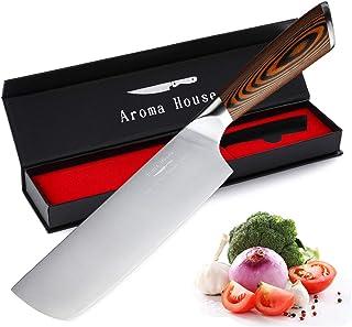 Couteau de chef Nakiri Couteau professionnel Couteau de cuisine 17,5 cm Couteau tout usage Acier inoxydable allemand Lame ...