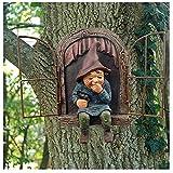 1 Stück Garten GNOME Statue Elf aus Die Tür Baum Hugger, Garten Peeker Hof Art Zwergzwerg Gartenzwerge, Wunderliche Baum Skulptur Garten Dekoration, Baum Huggers Garten Dekor Ornament Figuren