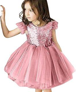 FRAUIT Abiti Donna Eleganti Abito A Fiori Vestiti Bambina Eleganti Cerimonia Vestito Principessa Neonata da Spiaggia Mare