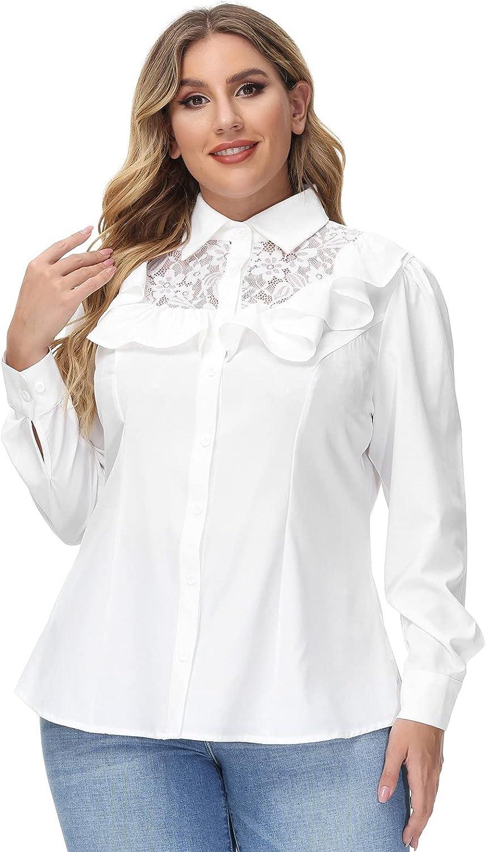 Victorian Blouses, Tops, Shirts, Vests, Sweaters Hanna Nikole Womens Vintage Ruffle Blouse Button Down Shirt Plus Size Lace Patchwork Tops  AT vintagedancer.com