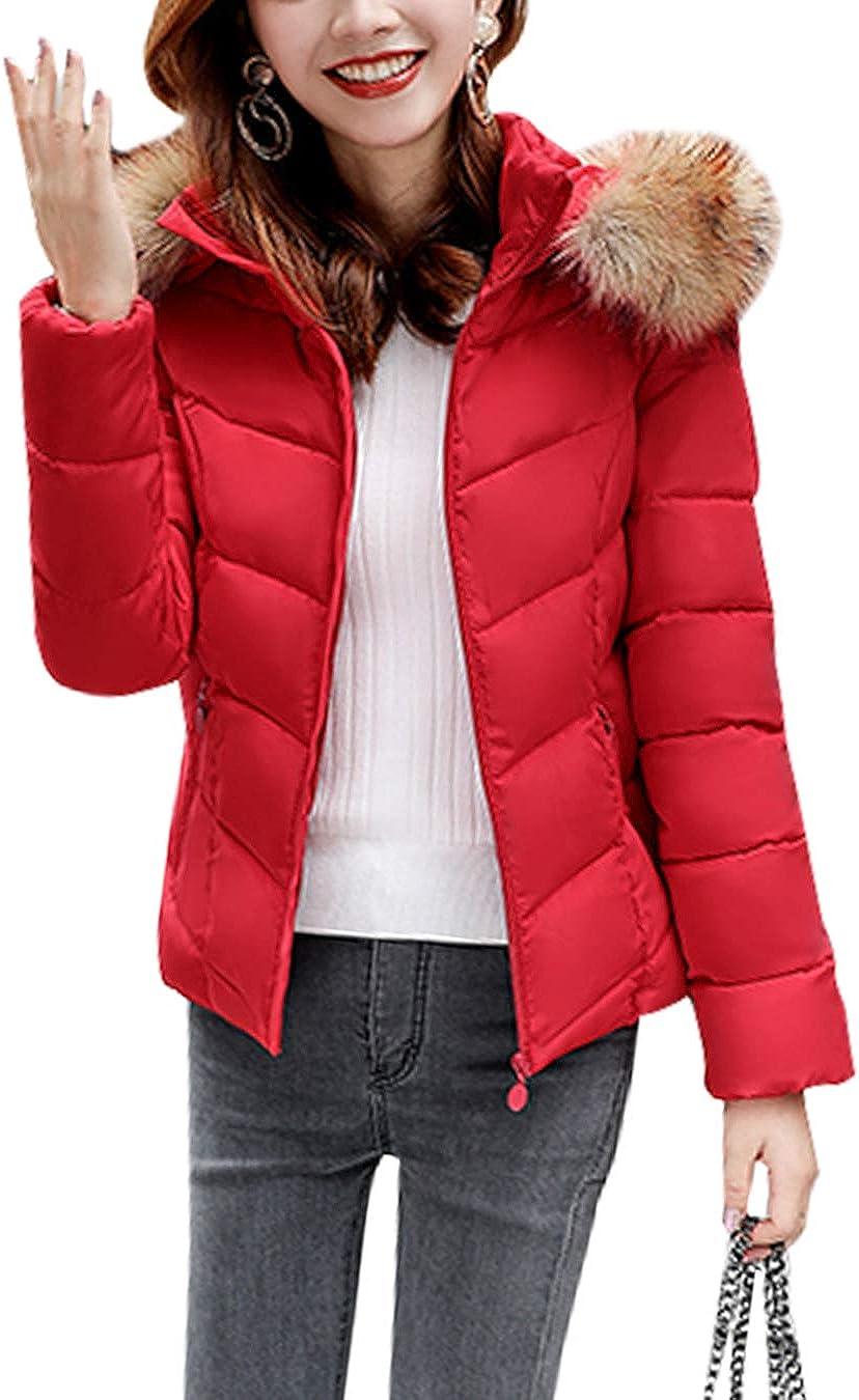 EFOFEI Womens Winter Puffer Jacket Casual Faux Fur Hooded Warm Short Down Coat