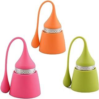 Infusor de té iNeibo de acero inoxidable y silicona de grado alimenticio, Bonita bola de té con el recipiente para el té suelto (juego de 3 rosa/verde/Naranja).
