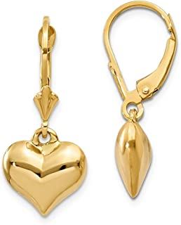 14k Yellow Gold Puff Heart Leverback Earrings Lever Back Drop Dangle Love Fine Jewelry Gifts For Women For Her