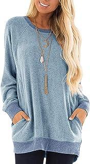 Halife Womens Casual Color Block Long Sleeve Round Neck Pocket T Shirts Blouses Tunic Sweatshirt Tops