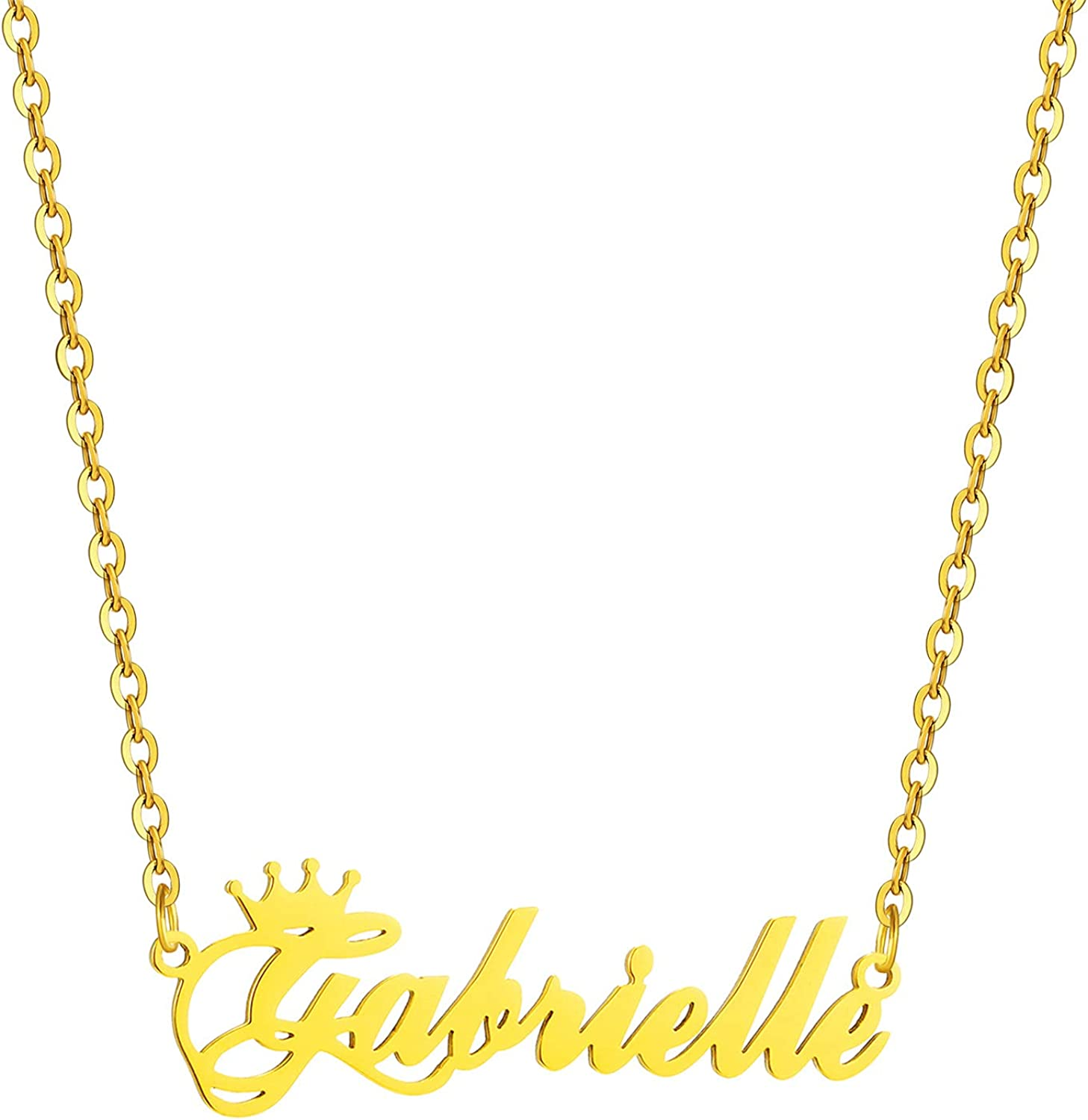 SKQIR Gold Custom Women Name Necklace Personalized, Customized Chains Name Pendants Necklaces Personalized Name Necklace with Crown for Women Girl Gift