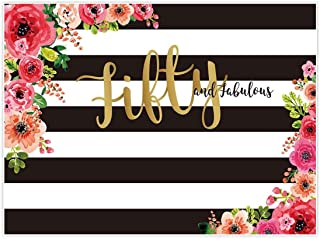 Allenjoy 8x6ft Fifty and Fabulous Backdrops Black and White Stripe Pink Paper Flower Banner Happy 50th Birthday Cheers to 50 Years Old Adult Women Prom Gold Glitter Party Decorations Supplies Favors