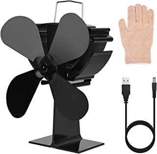 Cozyswan Fireplace Fan with USB Cable Insulation Gloves 4 Blades Heat Powered Stove Fan for Wood