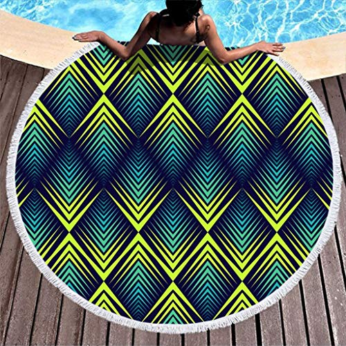 COMBON Shop Toalla de playa redonda de peso ligero cómoda toalla de playa – para natación blanca 59 pulgadas
