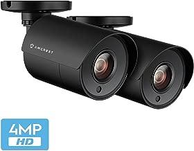 2-Pack Amcrest UltraHD 4-Megapixel Bullet Outdoor Security Camera, 4MP 2688x1440P, Heavy Duty Housing, 2.8mm Lens 100° Wide Angle, Black (2PACK-AMC4MBC28P-B)