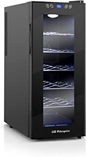 Orbegozo VT 1210, Vinoteca 12 Botellas, 70 W, Led, Display Digital, Panel de Control Táctil, 5 Estantes Extraíbles Cromado...