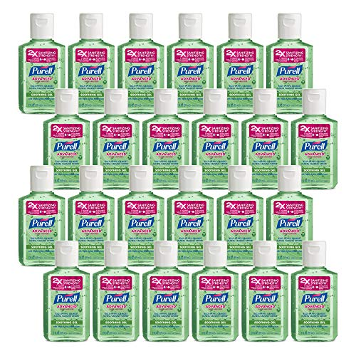 PURELL Advanced Hand Sanitizer Soothing Gel, Fresh scent, with Aloe and Vitamin E- 2 fl oz Travel Size Flip Cap Bottle (Pack of 24) - 9682-24-CMR