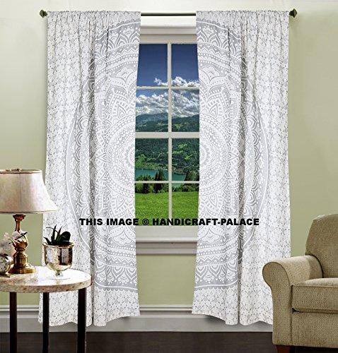 Argent Ombre Mandala Tapisserie, Mandala, Home Décor, mur, rideaux, indien, Tapisserie, traitement de fenêtre, Rideau, écran, Draperie, Store