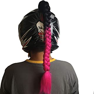 Popinjay® Helmet Pigtails/Helmet Ponytail Motorcycle Bike Helmet Braids Helmet Hair Helmet Wigs 1 pcs(Black+Rose)