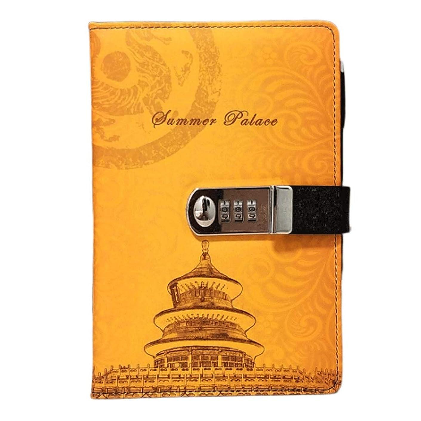 ケージペググリーンバッククラシックノート ヴィンテージジャーナルイエローレザー日記メモ帳とパスワードコードロックオフィス学校文具用品ギフト ミニメモ帳 (Color : Yellow)