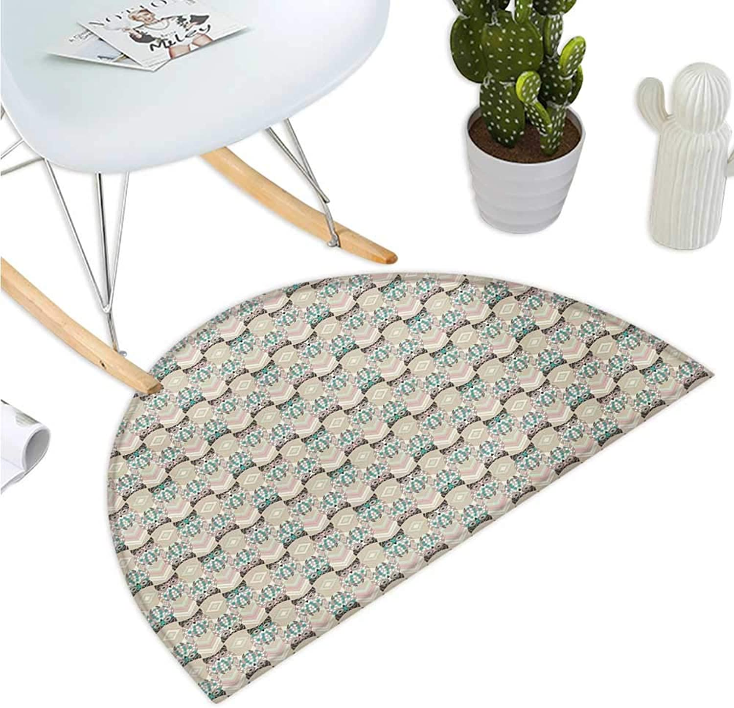 Owls Half Round Door mats Cute Pattern with Native an Geometric Ornaments Horizontal Zigzag Lines Entry Door Mat H 51.1  xD 76.7  Tan Turquoise Pale Pink