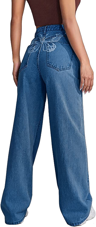 Women High Waist Jeans Casual Boyfriend Butterfly Print Baggy Straight Wide Leg Denim Pants