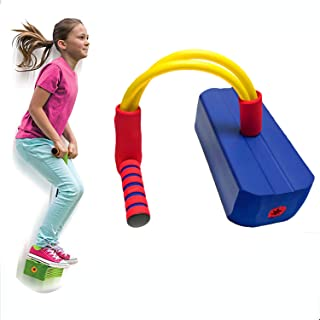 Pogo Jumper for Kids, DELFINO Blue Fun and Safe Jumping Stick, Durable Foam and Bungee Jumper for Ages 3 and Up, Kindergar...