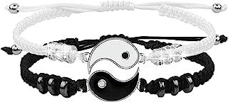 Best Friend Bracelets for 2 Matching Yin Yang Adjustable Cord Bracelet for BFF Friendship Relationship Boyfriend Girlfrien...