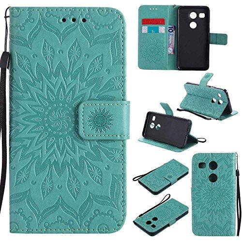 pinlu® PU Leder Tasche Etui Schutzhülle für LG Nexus 5X (5,2 Zoll) Lederhülle Schale Flip Cover Tasche mit Standfunktion Sonnenblume Muster Hülle (Grün)