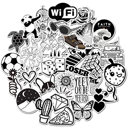Girl Water Bottle Stickers 50pcs, Cute Trendy Kids/Teen Vinyl Laptop Notebook Guitar Computer Waterproof Skateboard Luggage Decal Graffiti Patches Decal (Black and White)