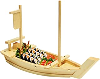 100% Natural Bamboo Wooden Sushi Tray Serving Boat Plate for Home or Restaurant - Japanese Sushi Boat (22
