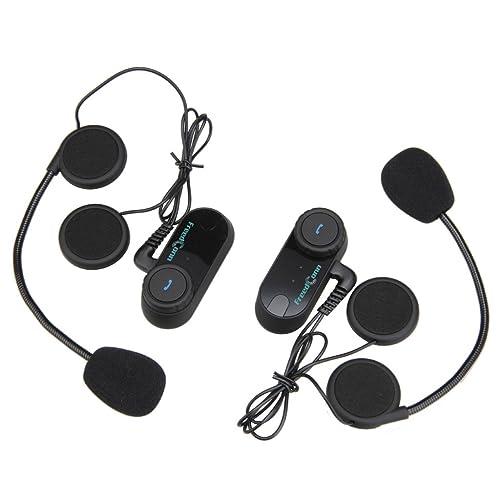 FreedConn 2X FDC02 Moto Intercom Oreillette Bluetooth Plug Casque de Moto Interphone 800M Noir EU