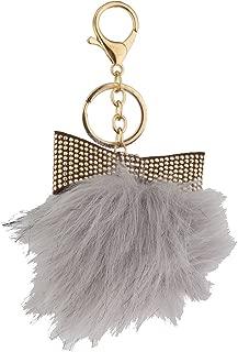 Lux Accessories Ivory Gold Tone Glitter Bow Faux Fur Pom Pom Keychain Bag Charm