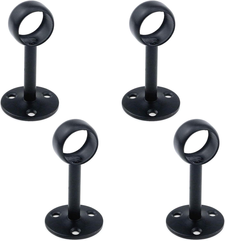 4 St/ück matt-schwarz Antrader 19 mm Durchmesser Duschvorhang Schrankstange Edelstahl Deckenhalterung