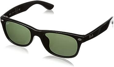 RAY-BAN RB2132F New Wayfarer Asian Fit Sunglasses, Black/Green, 52 mm