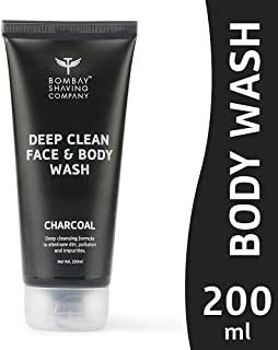 Bombay Shaving Company Activated Charcoal Deep Clean Face and Body Wash, Black, 200 ml