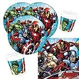 Procos 36-teiliges Party-Set Marvel Mighty Avengers - Teller Becher Servietten für 8 Kinder