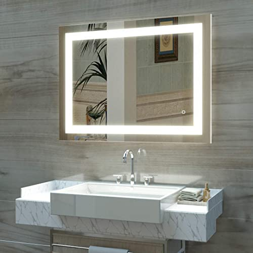 HAUSCHEN 32 x 40 inch LED Lighted Bathroom Wall Mounted Mirror with 3000K High Lumen + CRI>90 Warm White Lights and A...