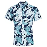 CATERTO Men's Tropical Short Sleeve Floral Print Beach Aloha Hawaiian Quick Dry Shirts, Print8, X-Large
