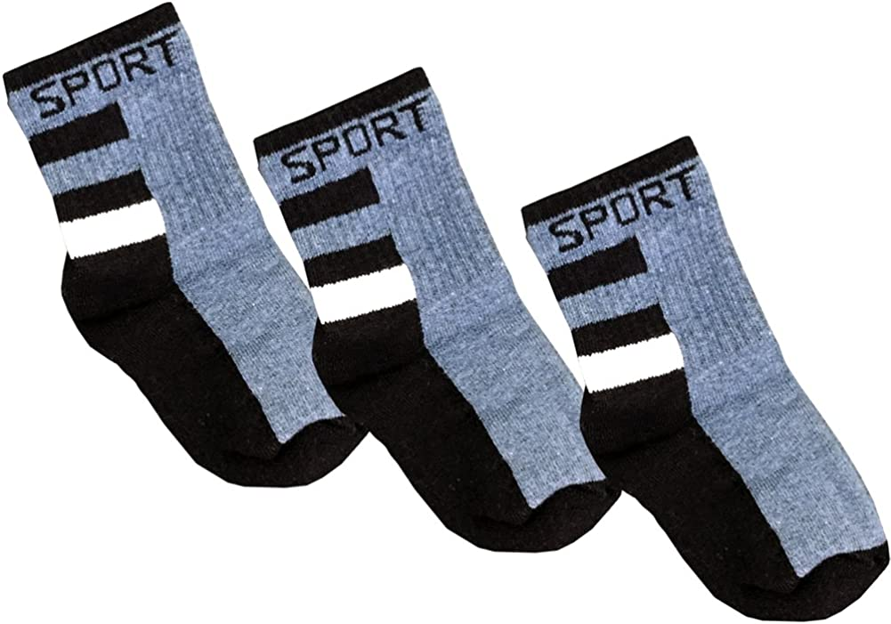 Little Boys' Pack of 3 sport socks, thick athletic style in choice of colors