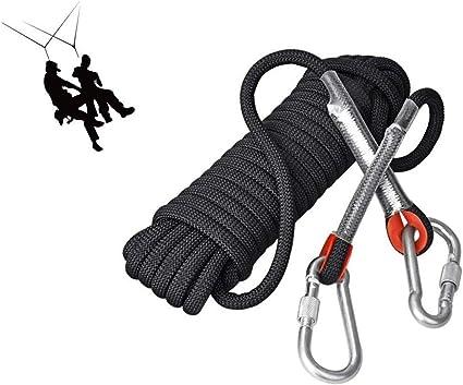 Cuerda de escalada negra 10MM, Cuerda de escape de emergencia ...