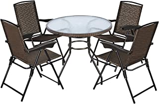 Goplus 5-Piece Bistro Set Outdoor Patio Furniture Weather Resistant Garden Round Table and 4 Folding Sling Chairs (4 Sling Chairs+Wicker Edge Table)