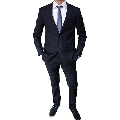 8611c1ee9edd Elegante Abito da Uomo Blu Scuro Sartoriale Blu Completo Vestito Casual  Slim Fit Aderente