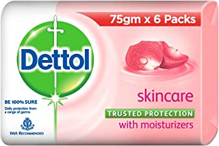 Dettol Skincare Germ Protection Bathing Soap bar, 75gm, Pack of 6