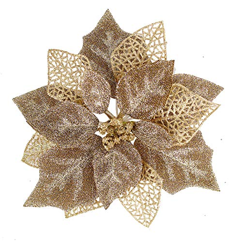 Louiesya (Pack of 12 Glitter Poinsettia Christmas Tree Ornaments,Christmas Decorations Flower (Brown Gold)