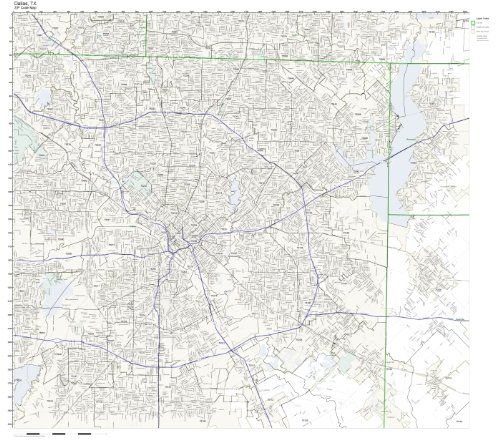 Working Maps Zip Code Wall Map of Dallas, TX Zip Code Map Laminated