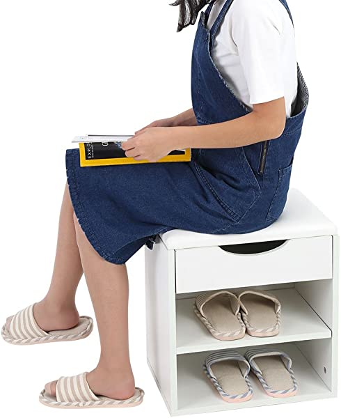 Shoe Bench With Storage Home Entryway Hallway Shoe Bench Wooden Shoes Storage Organizer Cabinet Padded Seat White