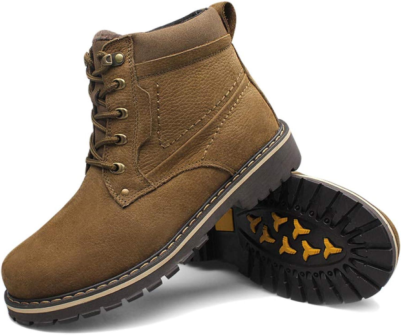 Men's Martin Boots High Help Chukka Boots Plus Velvet Desert Comfortable Motorcycle Boots Snow Boots Work Boots