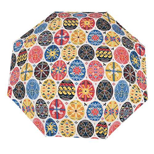 Paraguas plegable de Pascua (1) patrón de estilo europeo firme y eficaz bloqueo de la infiltración del agua de lluvia, fácil de sostener, el mejor regalo para Navidad, White (Blanco) - [pmcc]78213