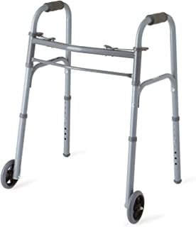 """Medline Junior Two-Button Folding Walker with 5"""" Wheels, For Users 4'6"""" to 5'5"""""""